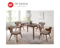 MF DESIGN Koan Dining Set (1 Table + 4 Chairs) - Modern Style [Full Solid Wood]